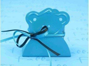 Porte bougie turquoise tete ourson avec boite dragees