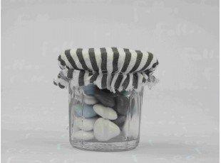 Pot à confiture avec charlotte grise et dragées garçon