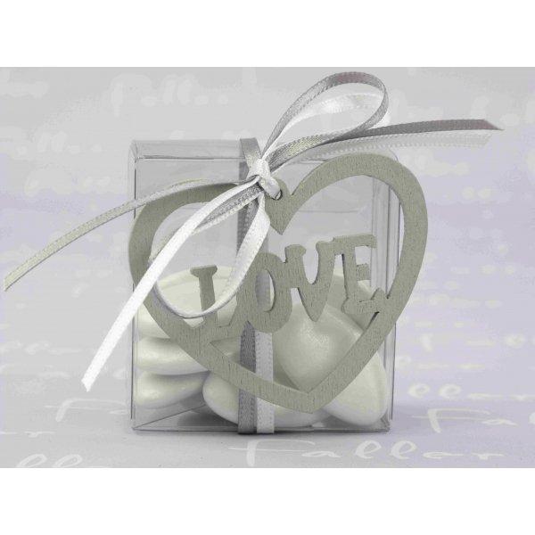 dragee mariage dans boite carree avec coeur argent. Black Bedroom Furniture Sets. Home Design Ideas
