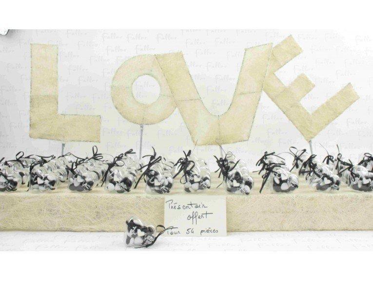 Boite a dragees coeur plexi avec bracelet (noir & blanc)