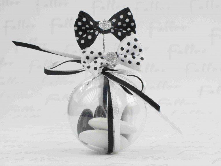 Boule à dragées avec noeud noir et blanc à pois