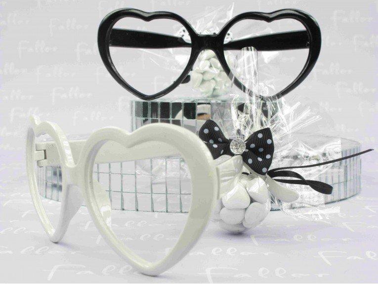 Lunette forme coeur avec dragees mariage