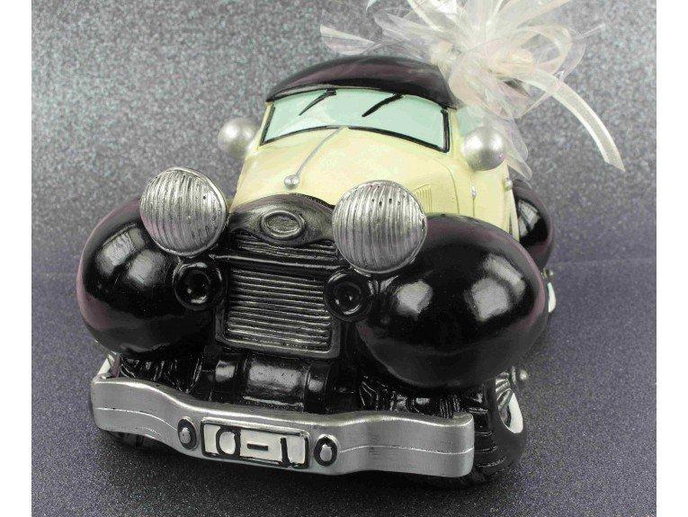 Tirelire voiture ancienne et dragees mariage