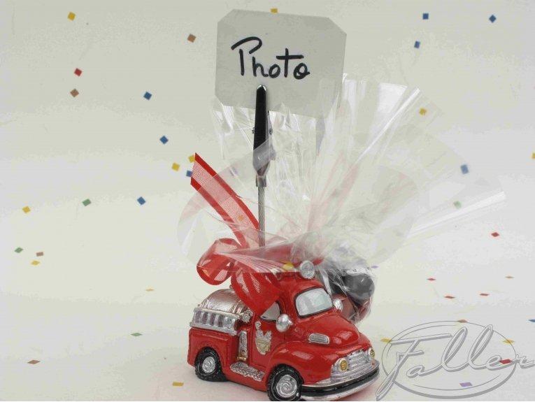 Camion pompier porte photo et dragées