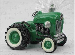 Grand tracteur vert tirelire avec dragees