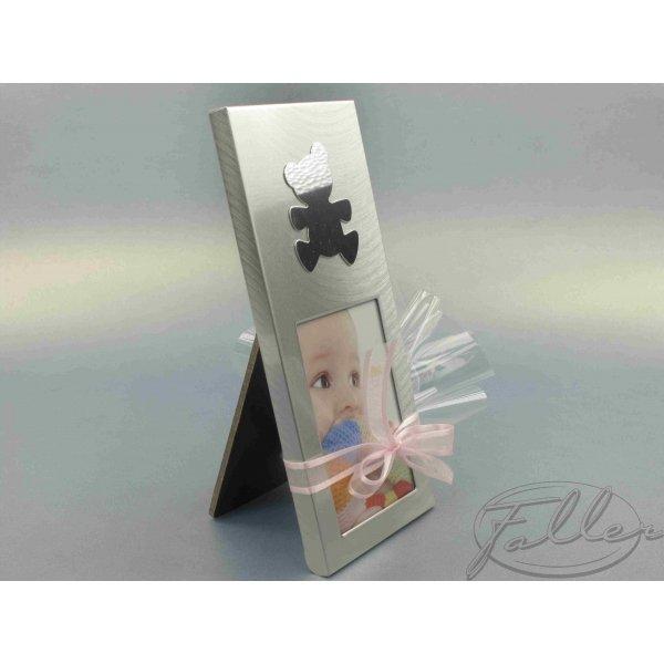petit cadre photo argent avec ourson pour bapteme fille