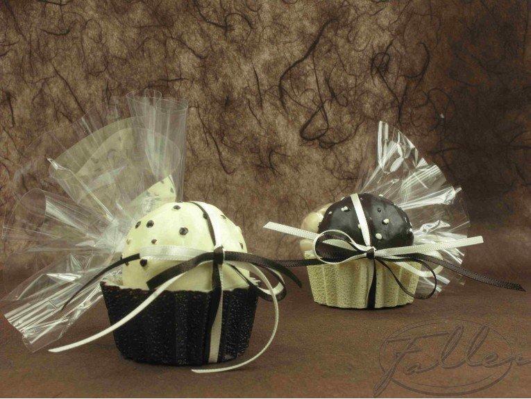 Bougie cupcake chocolat avec dragées