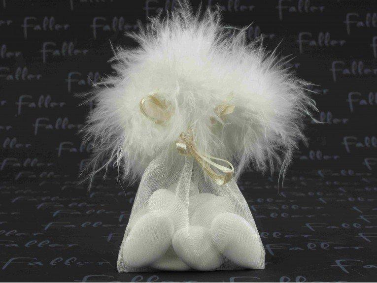 Sac à dragées amandes mariage à plumes blanches