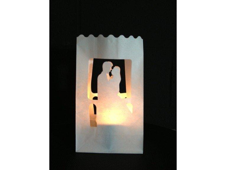 Lanterne blanche en papier ignifuge dessin couple