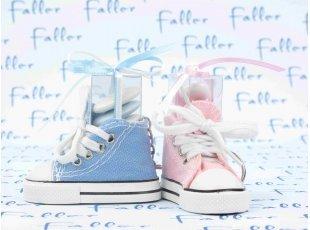 Basket bleue et rose avec dragées pour jumeaux
