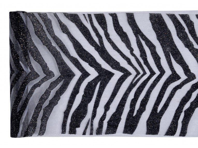 Chemin de table noir deco zebre