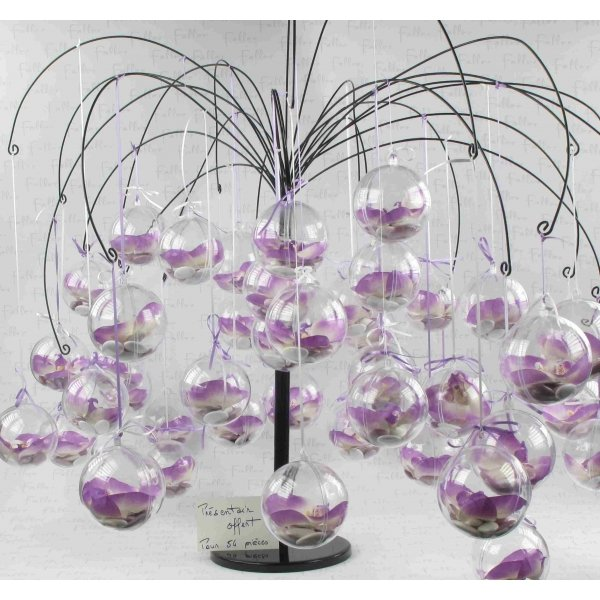 orchidee blanche dans boule plexi avec dragees mariage. Black Bedroom Furniture Sets. Home Design Ideas