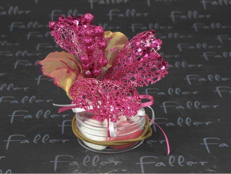 Boite dragées mariage avec fleur paillettée fuchsia