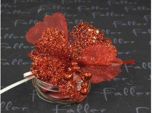 Dragées mariage et boite avec fleur pailletée rouge