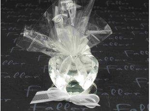 Prisme coeur en verre avec pochon de dragees mariage
