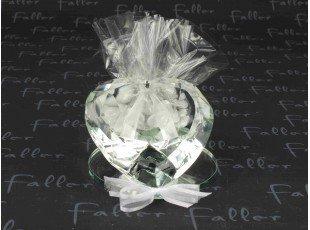 Grand prisme en verre déco coeur avec dragées mariage