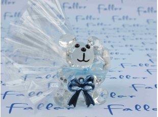 Dragées garcon avec ours en verre et noeud bleu