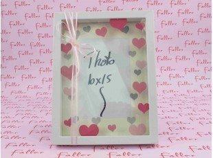 Grand cadre photo fille déco coeurs roses avec dragées