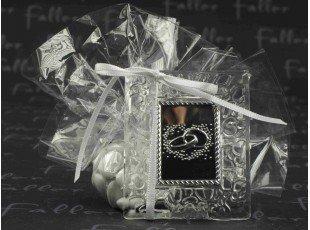 Petit cadre photo acrylique mariage avec dragees