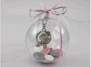 Dragées baptême dans boule avec porte clef fille