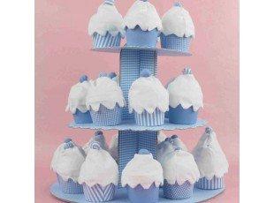 Gateau cupcake bleu vichy pour garcon