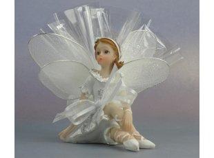 Elfe blanche de baptême avec dragées