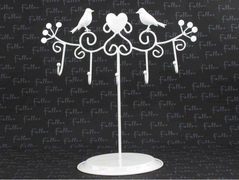 Présentoir : Oiseau et 5 crochets en métal blanc