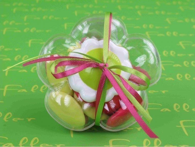 Dragées fille dans boite dragées fleur anis fuchsia