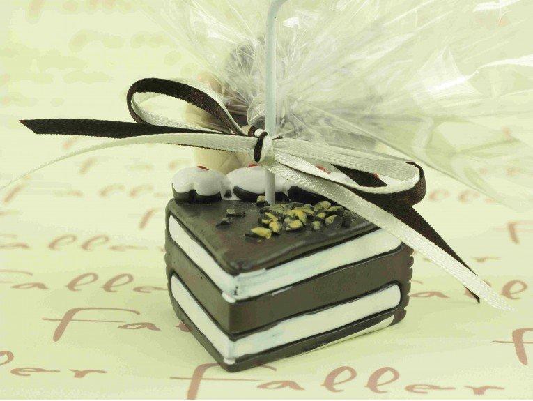 Porte-photo part de gâteau avec dragées baptême