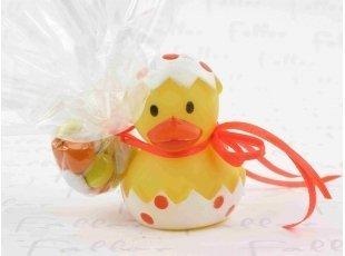 Canard de bain pois orange  avec pochon dragees bapteme