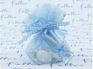 Pochon à dragées garçon bleu à pois et bonbon plexi