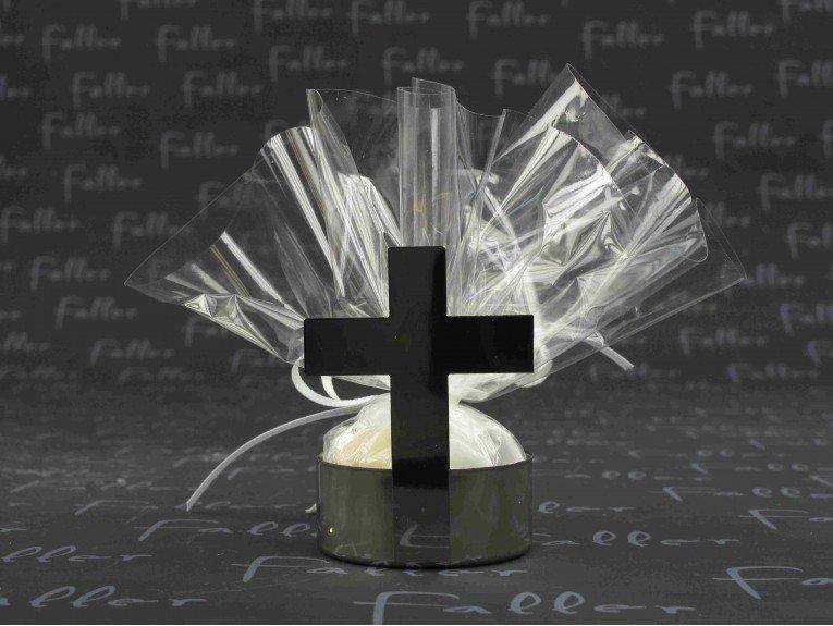 Porte bougie croix argent avec dragées communion