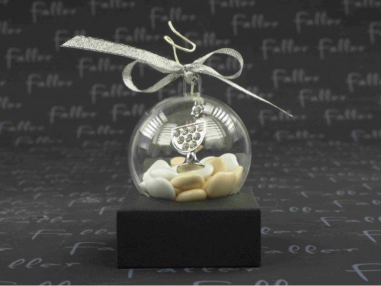 Petit bijou calice dans boule plexi avec dragées