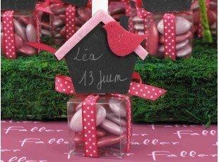 Boite à dragées fille avec maison ardoise fuchsia lilas