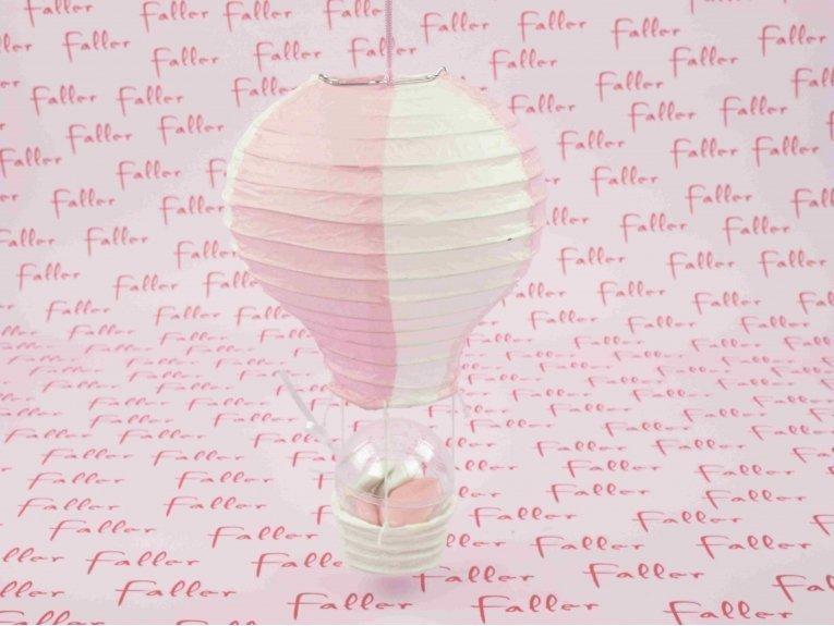montgolfière rose garnie de dragées baptême