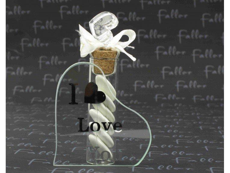Soliflore de mariage i love  you avec dragees