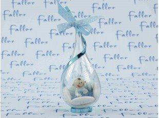 Dragées garçon dans goutte plexi avec bébé bleu