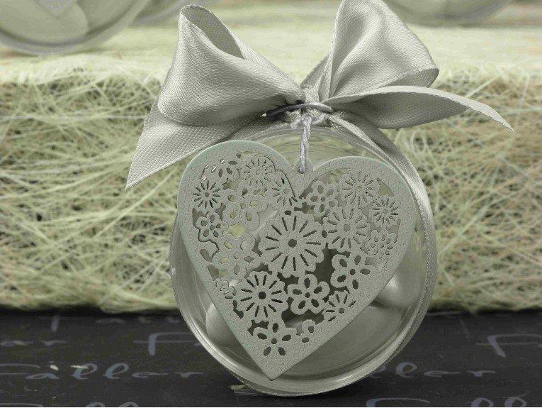 Boite plexi à dragées mariage avec coeur en bois argent