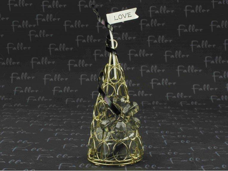Dragées mariage : cône en fer forgé doré