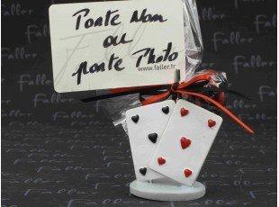 Grand porte photo jeu de carte avec dragees mariage