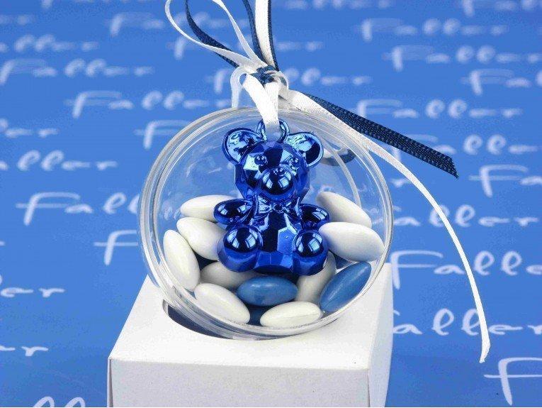 Boule à dragées naissance ourson bijou bleu