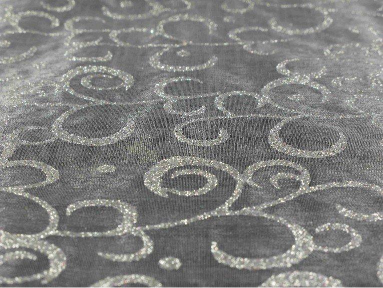 Chemin de table blanc arabesque argent for Chemin de table argent