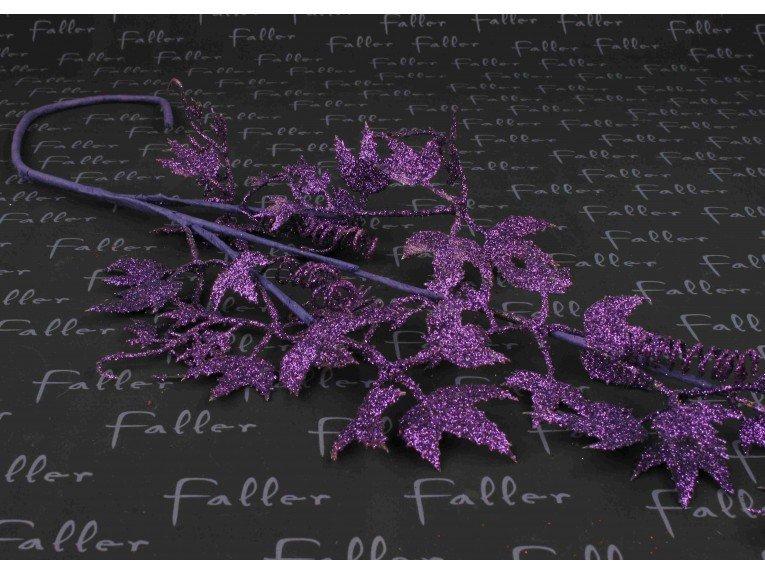 Déco de fête - Feuille de vigne pailletée lilas
