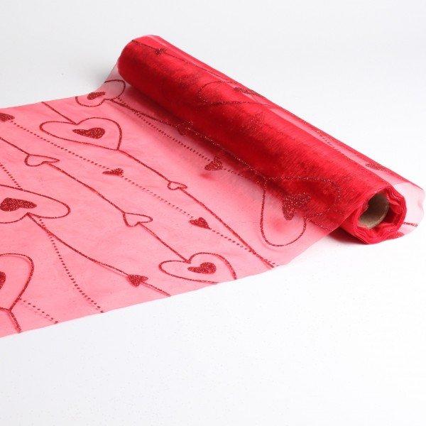 chemin de table avec deco coeur rouge. Black Bedroom Furniture Sets. Home Design Ideas