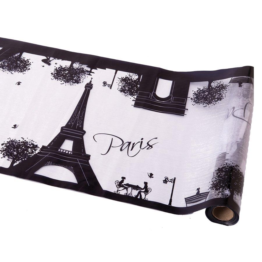 Chemin de table decoration parisienne noir et blanc - Chemin de table noir et blanc ...