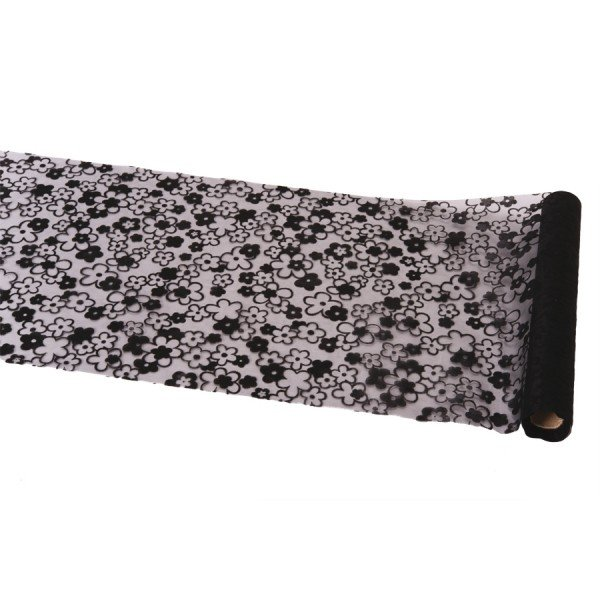 chemin de table organza fleurs noires. Black Bedroom Furniture Sets. Home Design Ideas