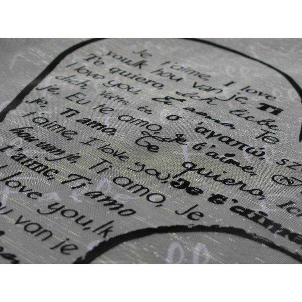 Chemin de table blanc avec message dans coeur noir - Chemin de table noir et blanc ...
