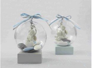 Ange porte-clés dans boule pour baptême garçon
