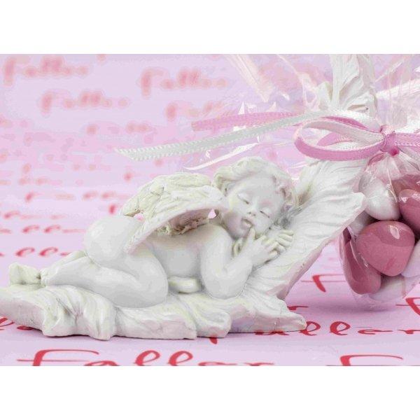 Ange endormi sur plume avec dragees bapteme fille - Couleur bapteme fille ...