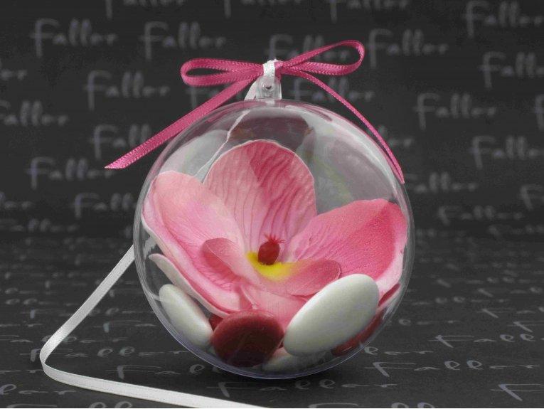Dragées mariage dans boule plexi avec orchidée fuchsia